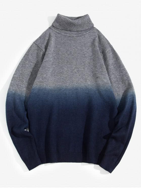 women Turtleneck Dip Dye Pullover Sweater - DEEP BLUE XS