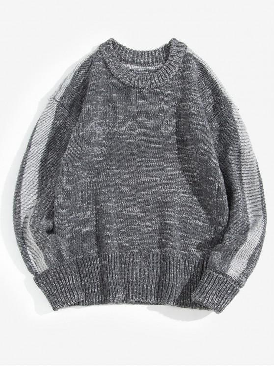 online Stripe Trim Rolled Sleeve Pullover Sweater - GRAY L