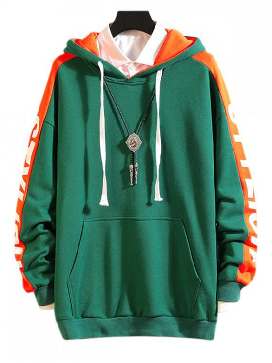 new Drop Shoulder Stylish Letter Print Casual Hoodie - GREEN M