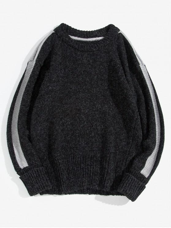 sale Stripe Trim Rolled Sleeve Pullover Sweater - BLACK XL
