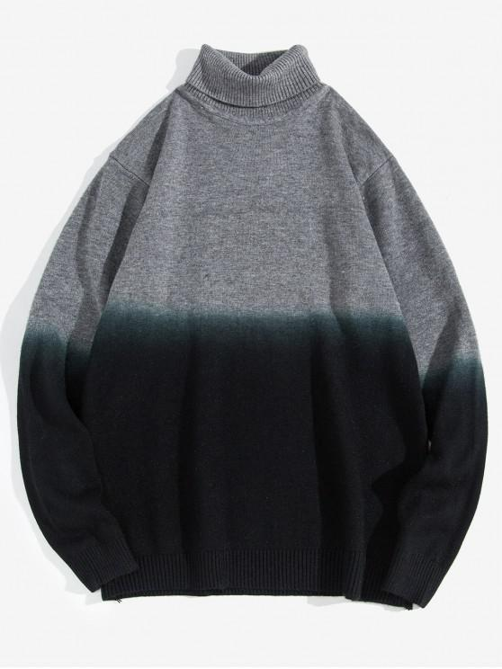 shops Turtleneck Dip Dye Pullover Sweater - GRAY XS