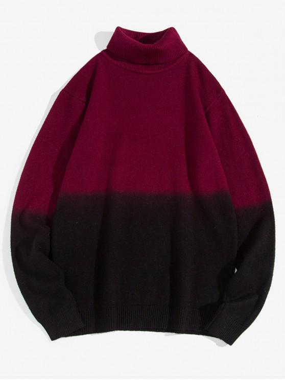 trendy Turtleneck Dip Dye Pullover Sweater - RED WINE S