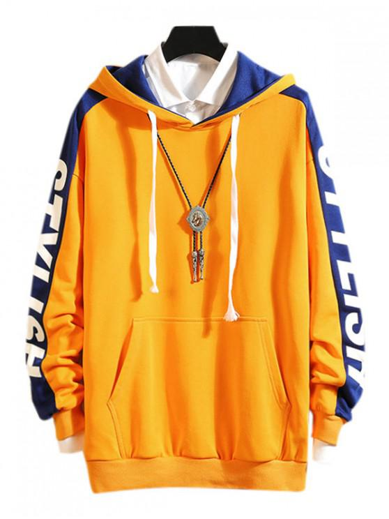 outfit Drop Shoulder Stylish Letter Print Casual Hoodie - YELLOW 2XL