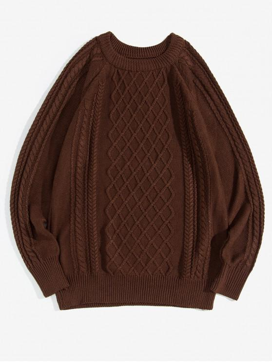 outfits Plain Cable Knit Pullover Sweater - COFFEE XS