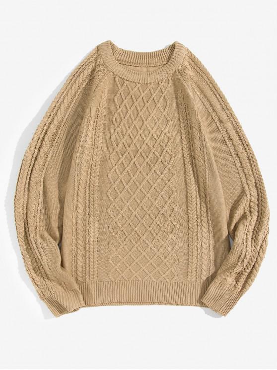 Pullover mit Rundhals und Kabelstrick - Khaki M