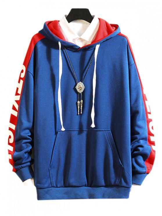 Picătură Umăr Scrisoare elegant, casual Print Hoodie - Albastru L