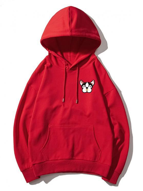 chic Tiny Dog Head Print Drop Shoulder Basic Hoodie - RED L