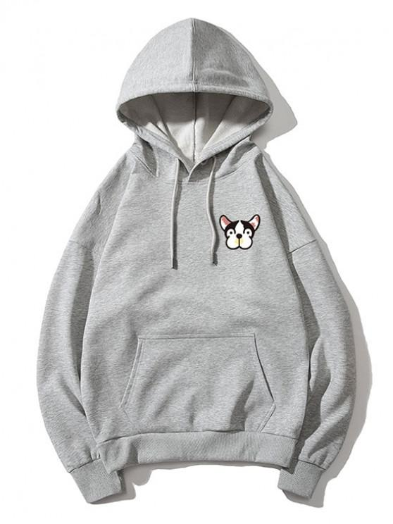 fashion Tiny Dog Head Print Drop Shoulder Basic Hoodie - GRAY 2XL