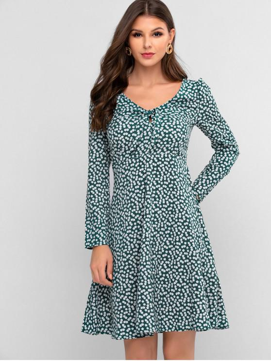 fancy Tie Front Floral Long Sleeve A Line Dress - DARK TURQUOISE XL
