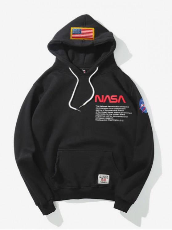 best Letter Print American Flag Casual Pocket Hoodie - BLACK 2XL