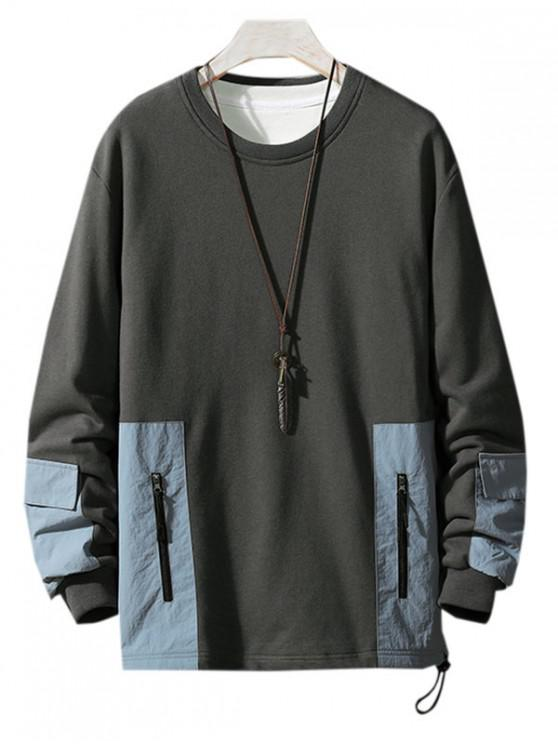 outfit Colorblock Spliced Patch Crew Neck Sweatshirt - DARK GRAY XS