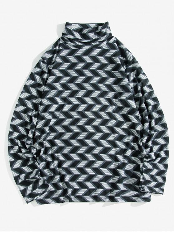 幾何学的パターンカジュアルタートルネックセーター - ブラック S