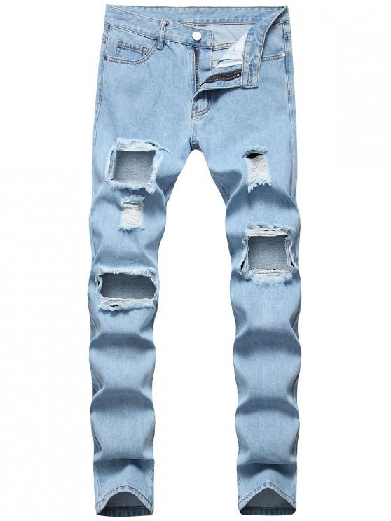 buy Destroyed Hole Decorated Zip Fly Jeans - JEANS BLUE 36