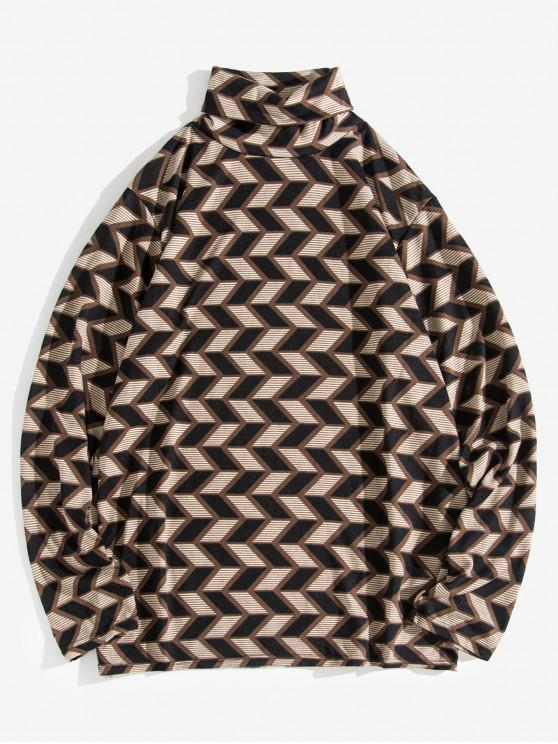 women Geometric Pattern Casual Turtleneck Sweater - COFFEE L