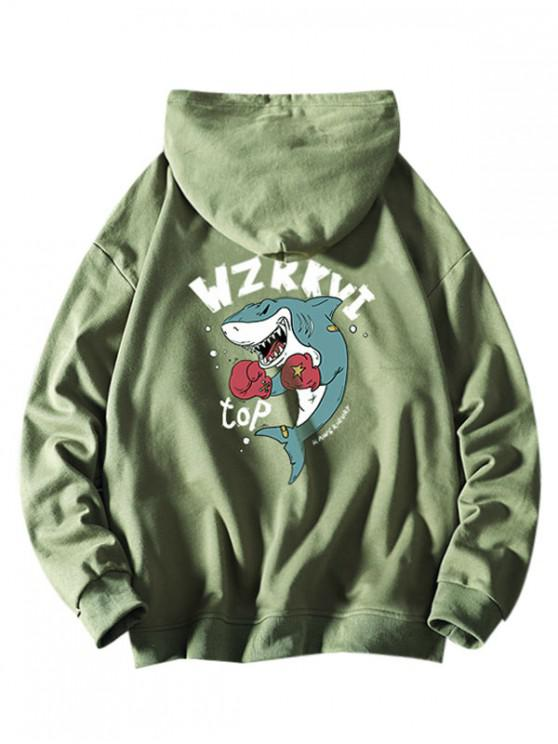 hot Cartoon Shark Boxing Letter Print Drawstring Hoodie - SEA GREEN XS