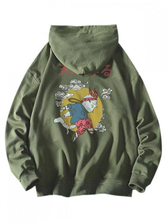 outfit Cartoon Cat Cloud Letter Graphic Hoodie - SEA GREEN S