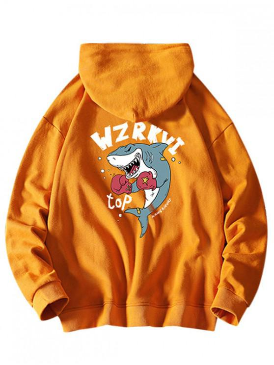 womens Cartoon Shark Boxing Letter Print Drawstring Hoodie - BRIGHT YELLOW M