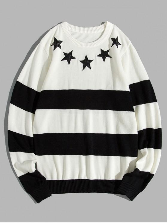 best Star Striped Two Tone Crew Neck Sweater - WHITE S