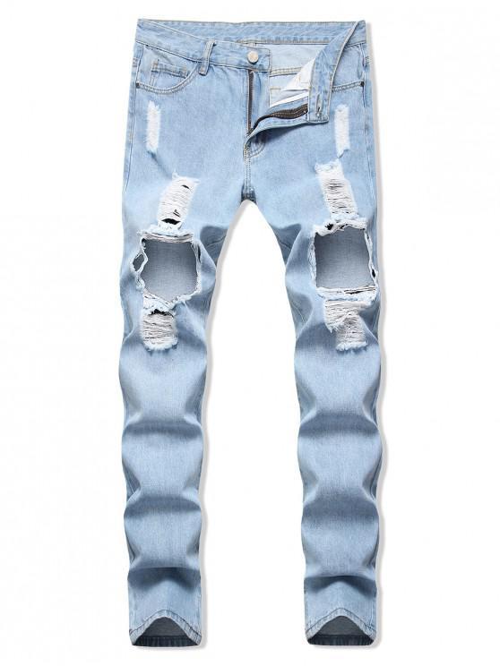 Rupt Hole Decorat Zip Fly Blugi - Jeans Blue 40