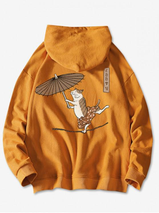 latest Drawstring Dancing Cat with Umbrella Fish Print Hoodie - BRIGHT YELLOW M