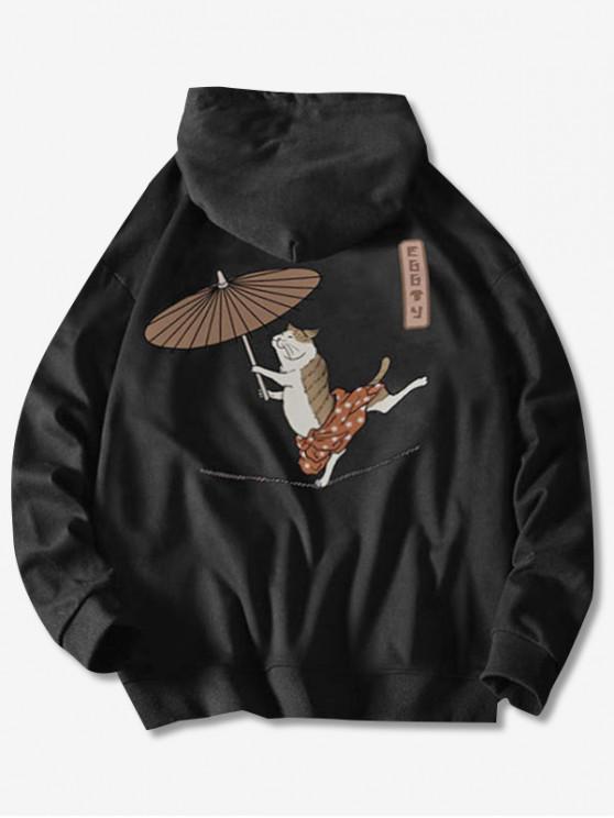 trendy Drawstring Dancing Cat with Umbrella Fish Print Hoodie - BLACK S