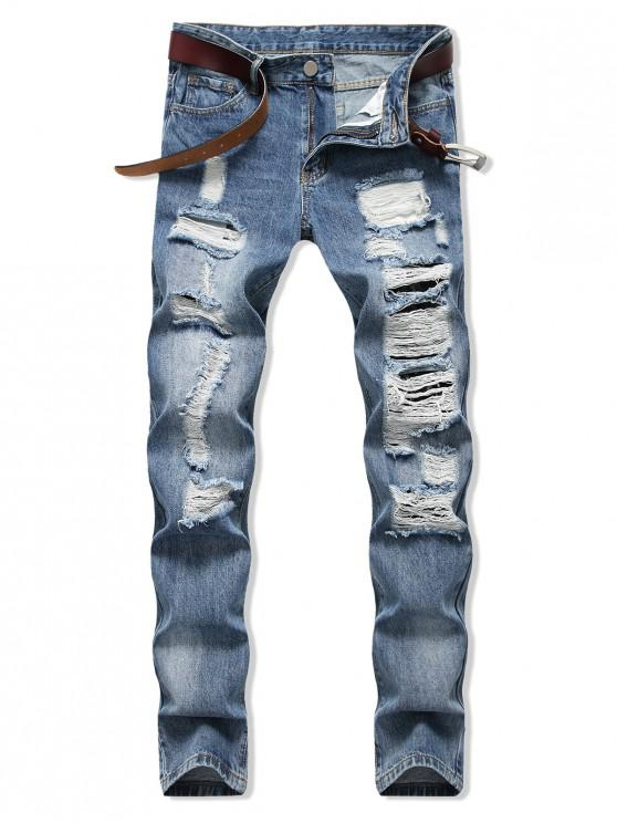ladies Casual Ripped Decorated Zipper Fly Jeans - DENIM BLUE 42