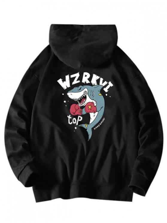 women Cartoon Shark Boxing Letter Print Drawstring Hoodie - BLACK L