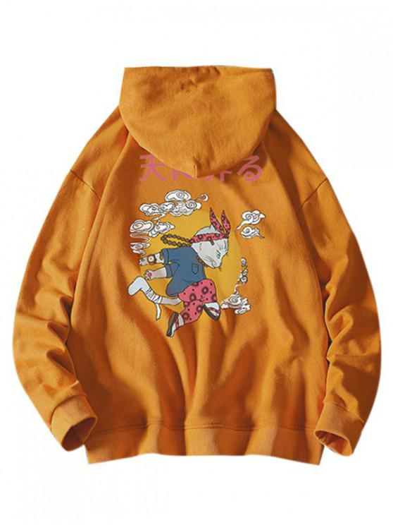 online Cartoon Cat Cloud Letter Graphic Hoodie - BRIGHT YELLOW L