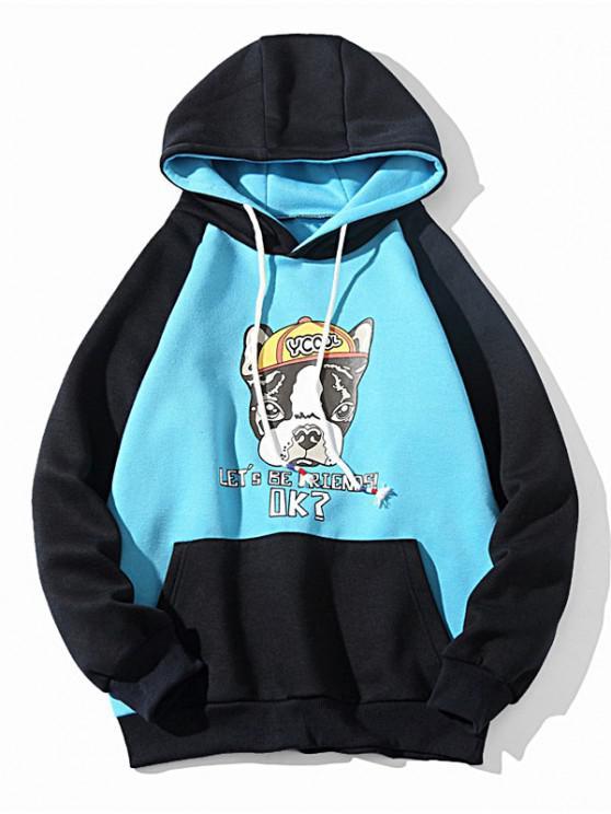 new Colorblock Cartoon Dog Letter Print Drawstring Fleece Hoodie - SKY BLUE XS