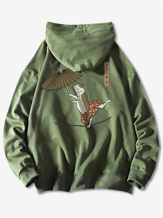 Cordon Dancing pisică cu umbrela de pește Print Hoodie - Mare verde XS