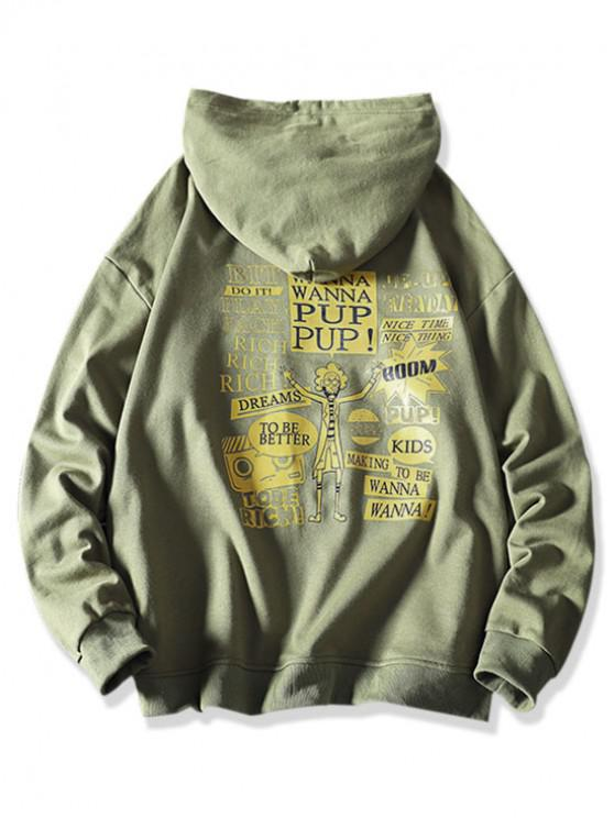 women Cartoon Character Letter Graphic Print Casual Hoodie - SEA GREEN L