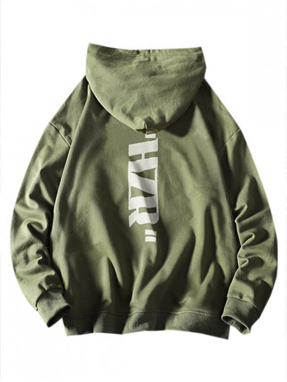 new Drawstring Letter Graphic Print Hoodie - SEA GREEN XS