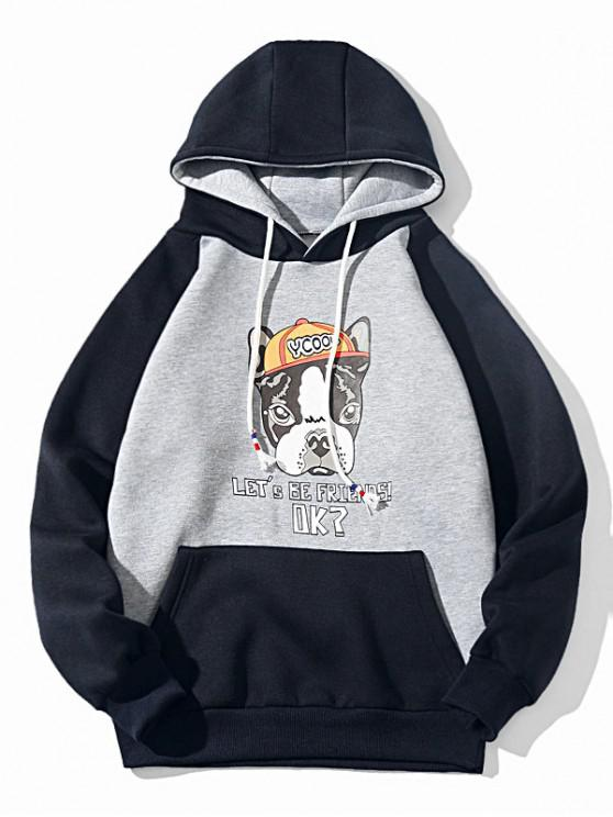 fashion Colorblock Cartoon Dog Letter Print Drawstring Fleece Hoodie - GRAY S