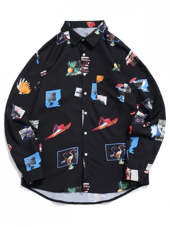 lady ZAFUL Bird Sport Drink Beach Graphic Print Button Vacation Shirt - MULTI XL