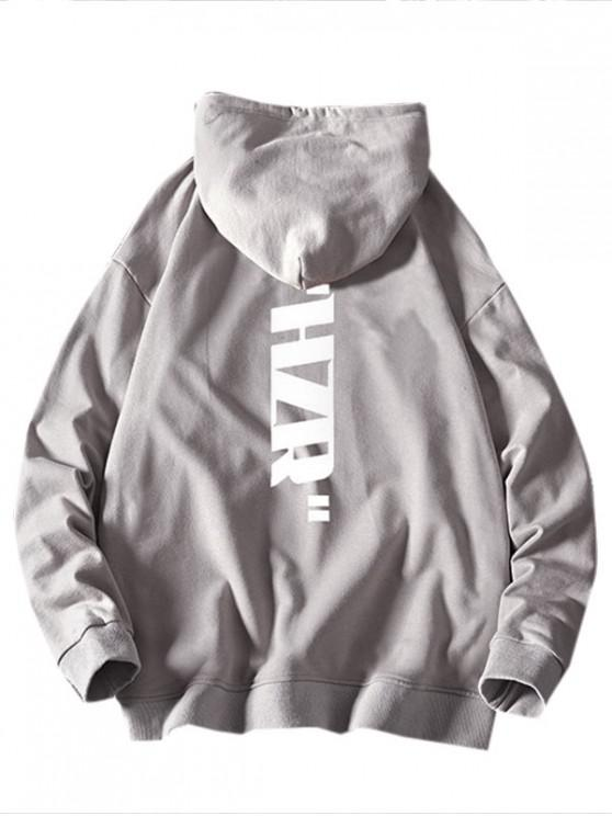 outfit Drawstring Letter Graphic Print Hoodie - PLATINUM XS
