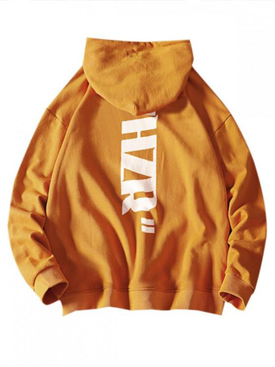 chic Drawstring Letter Graphic Print Hoodie - BRIGHT YELLOW XL