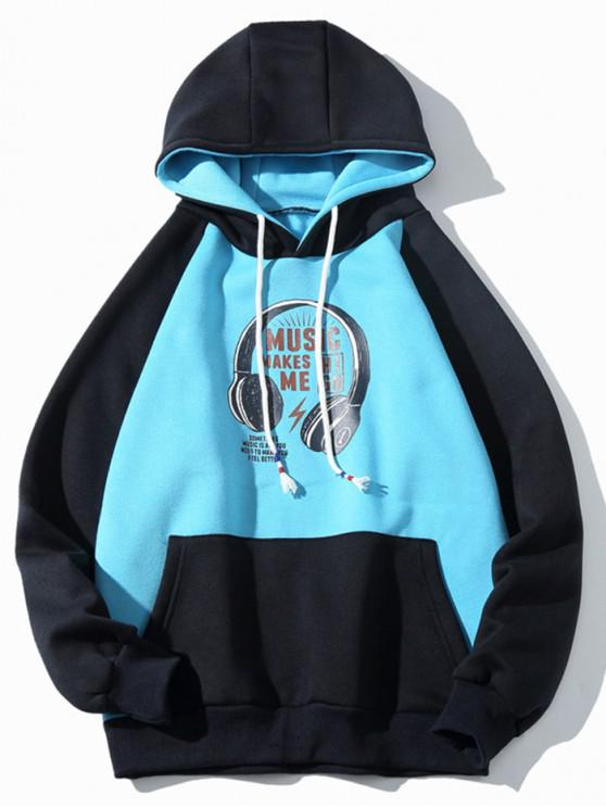 sale Headphone Letter Print Colorblock Panel Fleece Hoodie - SKY BLUE M