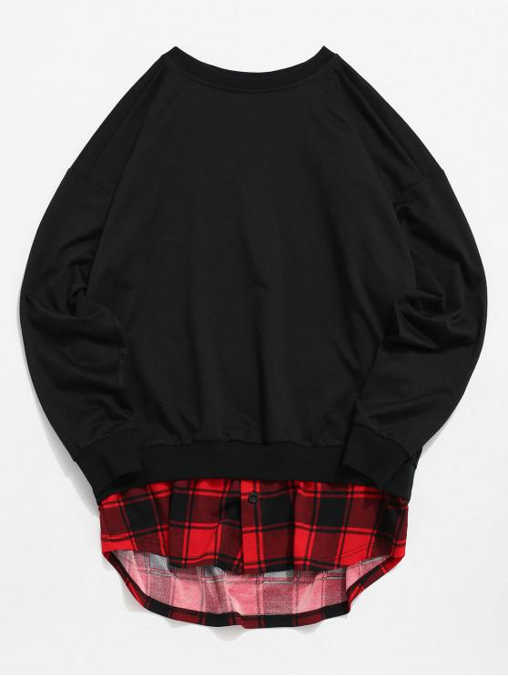 ladies ZAFUL High Low Plaid Splicing Faux Twinset Sweatshirt - MULTI M