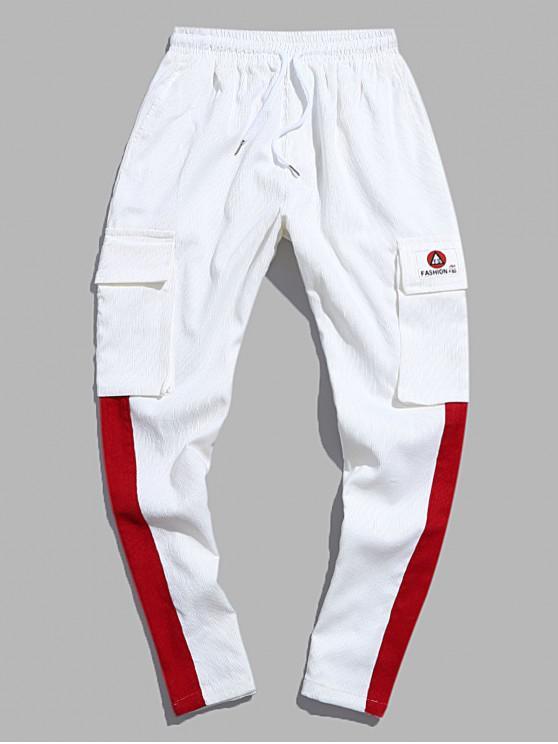 affordable Colorblock Spliced Applique Flap Pocket Cord Pants - WHITE M