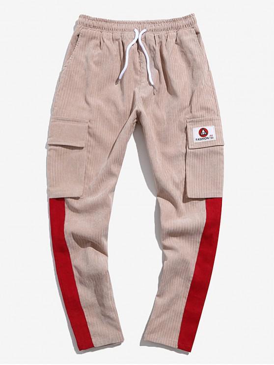 fancy Colorblock Spliced Applique Flap Pocket Cord Pants - KHAKI S