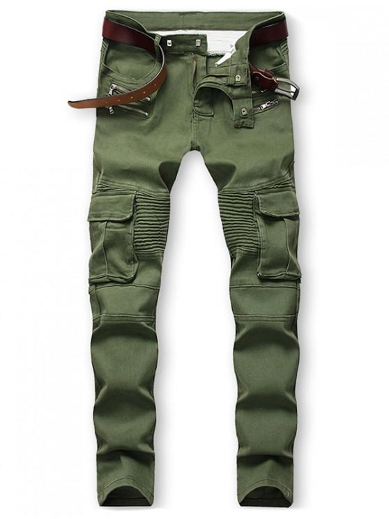 shop Pocket Decorated Zip Fly Casual Jeans - ARMY GREEN 38