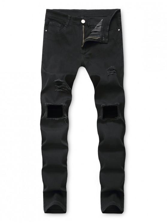 fashion Solid Color Hole Destroyed Decorated Jeans - BLACK 42