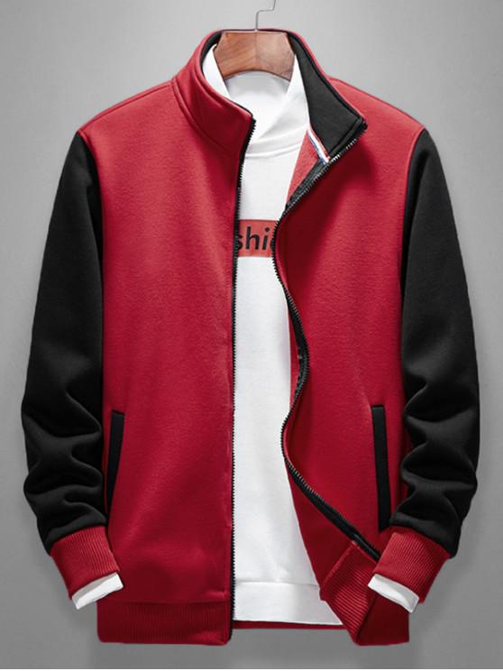 online Color Blocking Splicing Casual Jacket - RUBY RED M