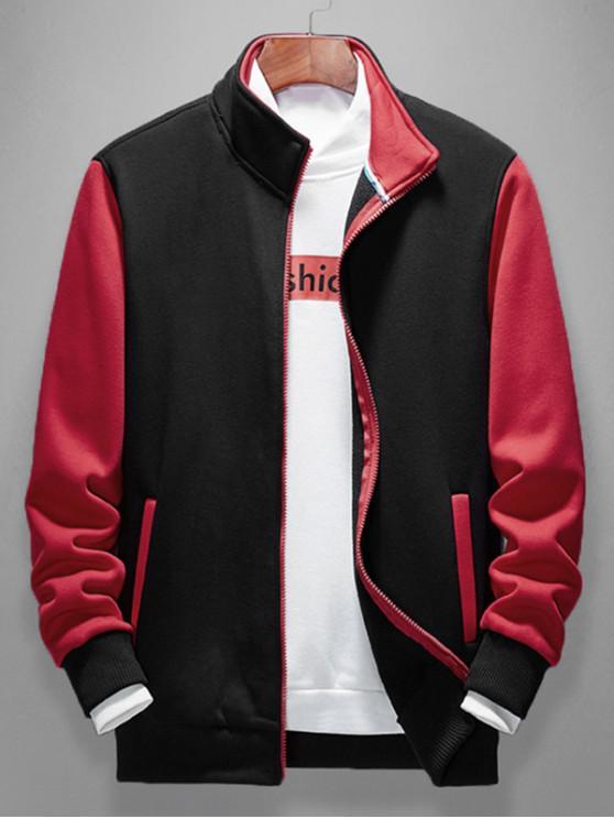 sale Color Blocking Splicing Casual Jacket - BLACK S