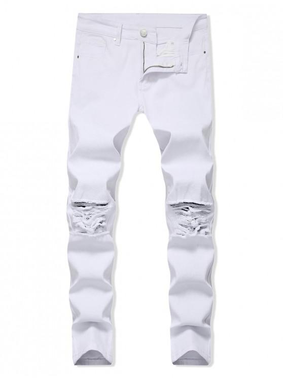 trendy Solid Color Ripped Design Zip Fly Jeans - WHITE 34