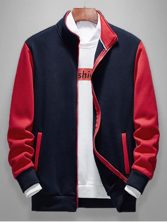 fancy Color Blocking Splicing Casual Jacket - NAVY BLUE XS