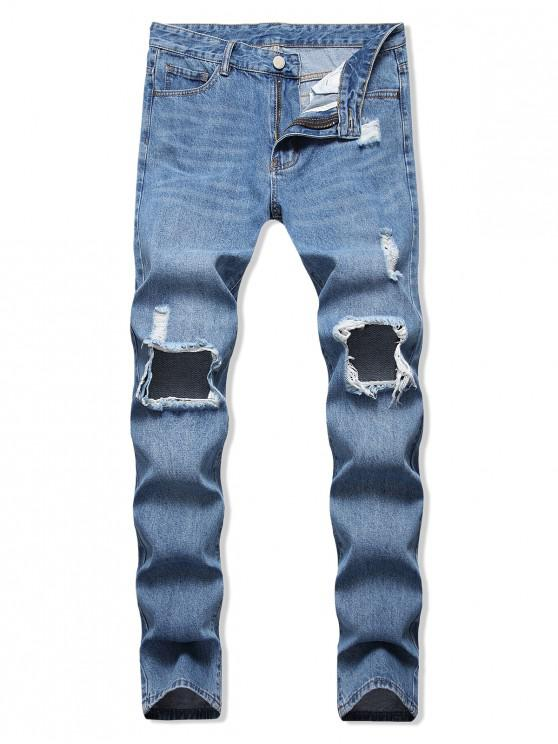 fancy Destroyed Hole Decorated Casual Jeans - DENIM BLUE 34