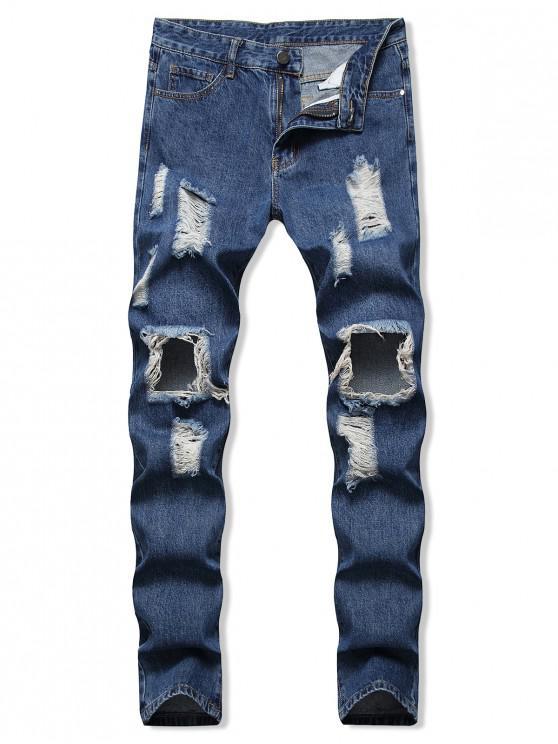 Zerrissene Loch Verzierte Lässige Reißverschluss Jeans - Blau 40