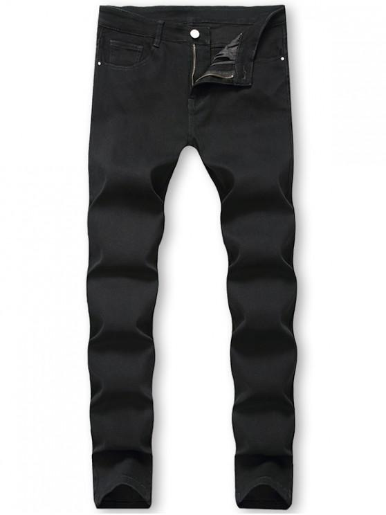 fashion Casual Solid Color Zip Fly Jeans - BLACK 40