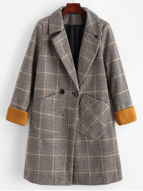 shops Houndstooth Pocket Cuffed Longline Coat - MULTI-A 2XL